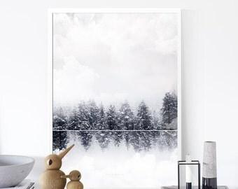Trees Print, Minimalist Landscape Print,  Monochrome Art ,Snow Print, Gift under 10,  Nature Art, 50x70cm, Abstract Print,Affiche Scandinave