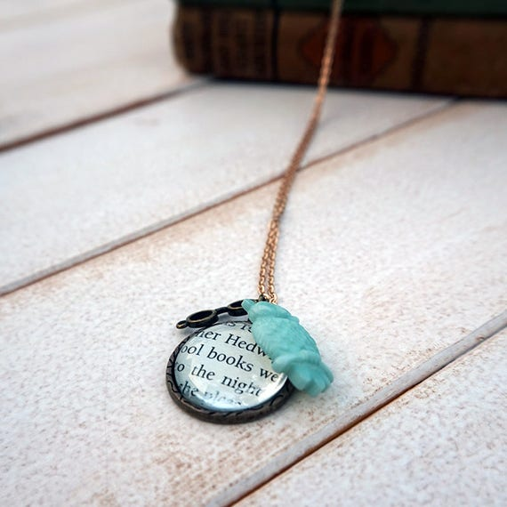 Harry Potter Hedwig Necklace   Book Page Necklace   JK Rowling Necklace   Harry Potter Sorcerer's Stone Necklace