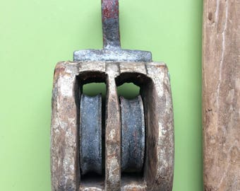 Vintage pulley block , block and tackle , wooden pulley block , double block and tackle , double pulley block , antique pulley block