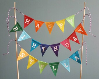 Personalised rainbow 'happy birthday' fabric cake topper bunting.