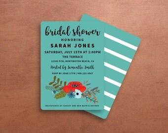 Blue and Floral Bridal Shower Invitation