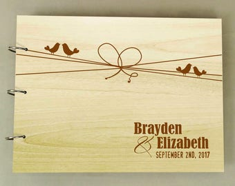 Rustic Wedding Guestbook, Custom Wedding Guest Book, Personalized Scrapbook, Wood Engraved Sign in Book, Couple Gift PGB11