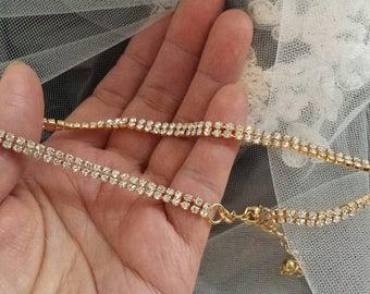 GOLD 2-row Rhinestone Choker Necklace, Stylish Fashion Choker, Wedding Choker, (C01013G_O)