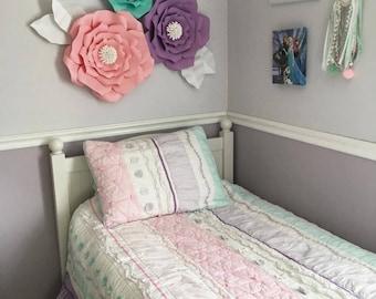 Set of 3 paper flowers - girls bedroom - bedroom decor - wall art - florals - large paper flowers - wall hangings - girls - girls room