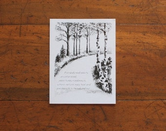 Birch greeting card with quote