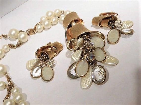 Tassel Necklace / Clip On Dangle Earrings /  Mid Century / Demi Parure Set