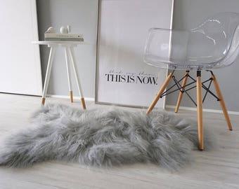 Genuine single ICELANDIC sheepskin rug - GREY color super soft long wool hair ! Best Price !