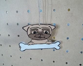 Pug Ornament Handmade and Hand Pianted
