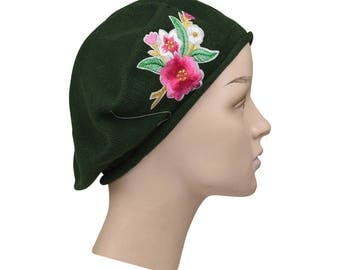 Ladies Olive Green Cotton Beret With Embroidered Red & White Flower Bouquet Stylish Fashionable Comfortable Cotton Womens Hat Ladies Beret