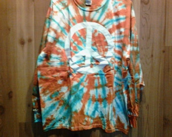 Tye Dye Shirt with Peace sign long sleeve