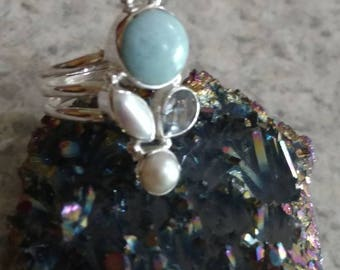 Larimar, Pearl and Blue Topaz Ring Size 8