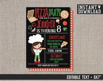 Instant Download, Pizza Birthday Invitation, Pizza Invitation, Pizza Party Invitation, Party Invitation - EDITABLE TEXT - Instant Download