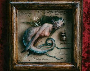 Mermaid in wooden frame,OOAK sculpture. Handmade polymer clay figurine, one of a kind.Fantasy creature Harry Potter style.Unique collectable