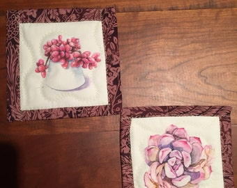 Coaster Set in Pinks and Purples