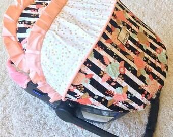Custom Baby Car Seat Covers, 4 Pc Set Car Seat Cover, Black & White Infant Car Seat Covers, Baby Carseat Covers, Covers for Baby Car Seat