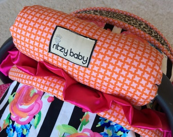 In Stock Orange and Pink Arm Pad, Arm Cushions for Car Seat Handle, Cushioned Arm Pad, Leopard Arm Pad, Minky Reverse
