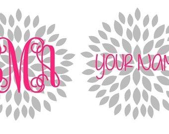 Monogram Flower Decal | Flower Monogram | Chrysanthemum Decal | Yeti Decal | Personalized Flower Sticker