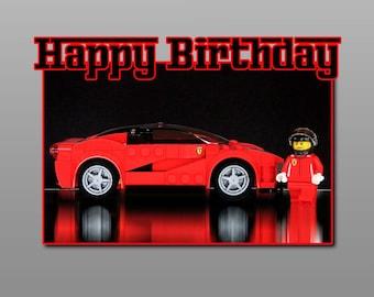 LEGO Birthday Card, Ferrari LaFerrari; Handcrafted 7 X 5 Inches
