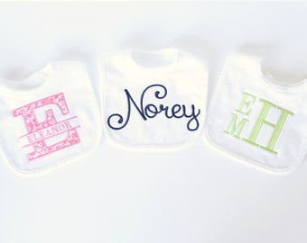 Set of 3 Personalized Bibs, Monogrammed Baby Bibs. Baby Gift, Baby Girl Bibs, Baby Boy Bibs, Other Colors Available