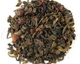 Pomegranate and Hibiscus Loose leaf flavoured green tea - 100gms