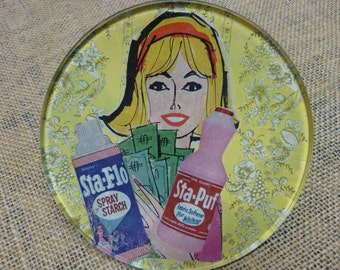"""Whimsical decoupaged dish-""""50's Style"""""""