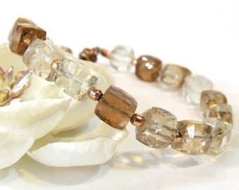 Topaz Bracelet, Handmade Beaded Bracelet with Natural Topaz, Brown and Champagne Topaz Cubic Gemstone Bracelet with Rose Gold Filled Accents