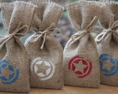 Small Rustic Hessian Burlap Marvel's Captain America Shield Geek Chic Wedding Party Gift Favour Bags Pouches W9 x H15cm(3.5