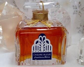 Guerlain, L'Heure Bleue, 60 ml. or 2.03 oz. Flacon, Pure Parfum Extrait, Limited Edition, Baccarat, 1912, 1990's, Paris, France ..