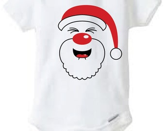 Happy Santa Baby Onesie Design, SVG, DXF, EPS Vector files for use with Cricut or Silhouette Vinyl Cutting Machines