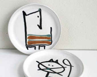 Bennington Pottery David Gil Cat Dog Small Plate Set Mid Century