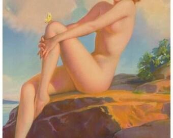 Pin-Up Girl Sunbathing Rare Vintage Poster