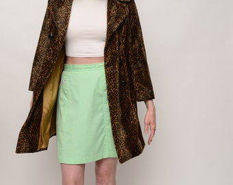 Leopard Double Breasted Jacket with Gold Lining - Faux Leopard - Extra Small/Small