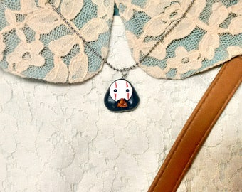 No Face Necklace/ Polymer clay charm necklace/ Spirited away charm necklace/ Kaonashi charm