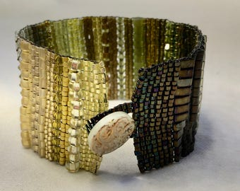 Yellow-Green Ombre Hand-Woven Beaded Bracelet