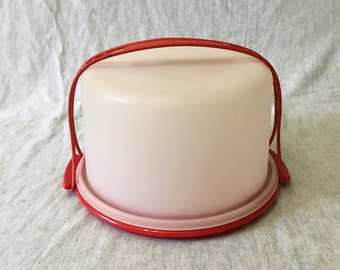 Vintage Orange and Frosted Tupperware Tall Cake Dome and Carrier
