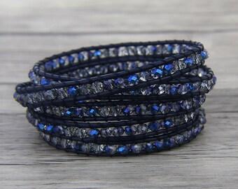 5 Rows Leather wrap Bracelet Steel blue crystal wrap Bracelet 5 Wraps Bracelet Crystal Bead Bracelet Bead Wrap bracelet bead Jewelry SL-0455