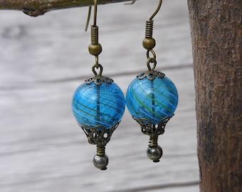 BOHO Bead Earrings Bronze Dangle Earrings Hot Air Balloon Earrings Blue Earrings Vintage Earrings Statement Earrings Boho Earrings ED-002
