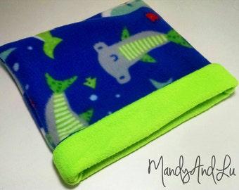 Pattern Sharks/Green - Fleece Snuggle Bag/Cuddle Sack For Hedgehog / Rat / Guinea Pig / Ferret / Sugar Glider / Small Animal