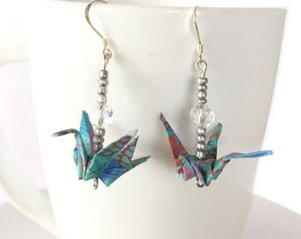 Origami crane, origami crane earrings, paper crane earrings, anniversary gift, eco friendly earrings, turquoise earrings, paper anniversary