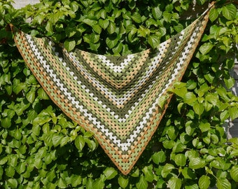 Crochet Scarf, Triangle Crochet Scarf with Tassels