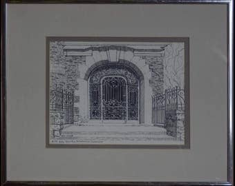 Door to Culture - Ink Sketch by Kathy Driscoll