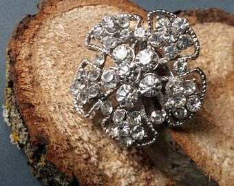 Vintage Style Silver and Rhinestone Flower Brooch / Pin