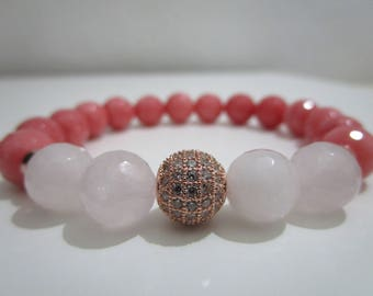 Bracelet Rose Quartz and pink Jade, semiprecious stones bracelet, beaded bracelet, bracelet for women, gift, gift for woman