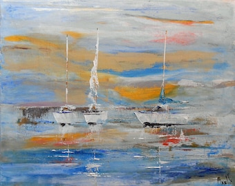 """Painting """"White Sailboats in the port"""""""