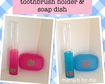 Personalized/Monogram Travel Toothbrush Holder and Soap Dish Case, Personalized Travel, Monogram Travel