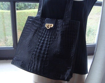 POURCHET PARIS CROCODILE Print Large black Shopper Bag Tote Shoulder Bag