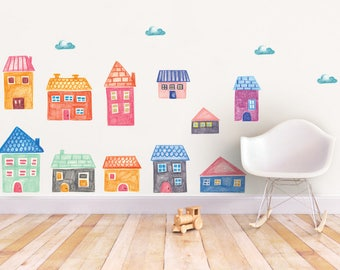 City wall decal, House wall decal, Baby shower gift, peel and stick, playing room decoration, Girls decor, City wall stickers