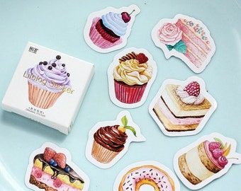 Keep Calm & Eat Cake Flake Stickers (45 pcs) // Die Cut Stickers // Planners //  Laptop Stickers  // Scrapbooking Essentials