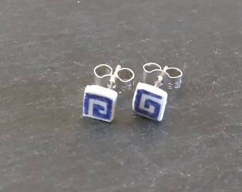 Tiny Earrings, Small Studs, Dainty Earrings, Broken China Jewelry, Square Earrings, Blue Earrings, Blue Stud Earrings, China Plate Jewelry