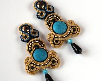 Statement earrings soutache, Soutache jewelry, Turquoise soutache earrings, Earrgins handmade, Gift for her, Luxurious jewellery, Handmade